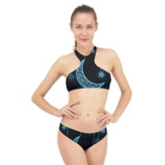 Moon Star Neon Wallpaper High Neck Bikini Set