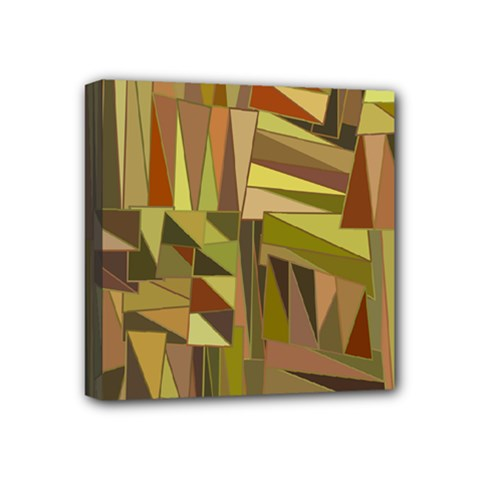 Earth Tones Geometric Shapes Unique Mini Canvas 4  X 4  (stretched) by Mariart