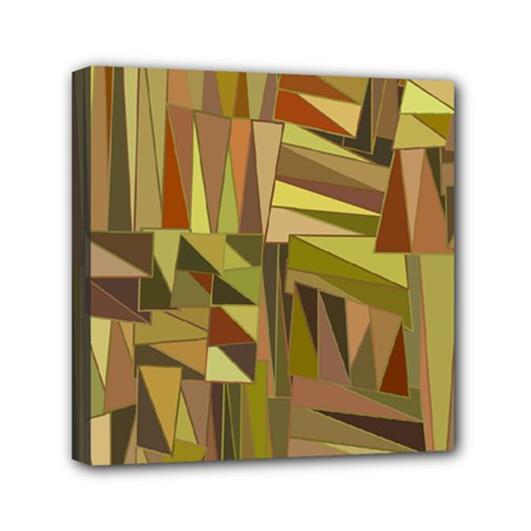 Earth Tones Geometric Shapes Unique Mini Canvas 6  X 6  (stretched)