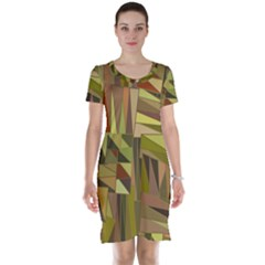 Earth Tones Geometric Shapes Unique Short Sleeve Nightdress
