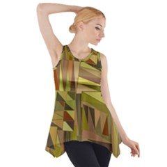 Earth Tones Geometric Shapes Unique Side Drop Tank Tunic
