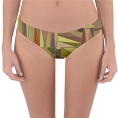 Earth Tones Geometric Shapes Unique Reversible Hipster Bikini Bottoms