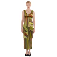Earth Tones Geometric Shapes Unique Fitted Maxi Dress