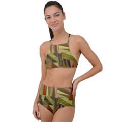 Earth Tones Geometric Shapes Unique High Waist Tankini Set