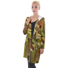 Earth Tones Geometric Shapes Unique Hooded Pocket Cardigan