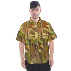 Earth Tones Geometric Shapes Unique Men s Short Sleeve Shirt