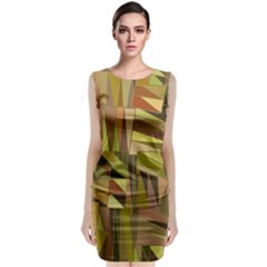 Earth Tones Geometric Shapes Unique Sleeveless Velvet Midi Dress