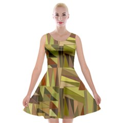 Earth Tones Geometric Shapes Unique Velvet Skater Dress