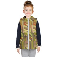 Earth Tones Geometric Shapes Unique Kids  Hooded Puffer Vest