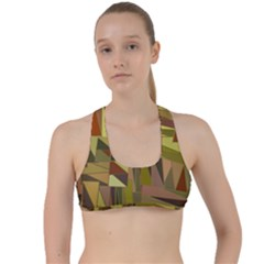 Earth Tones Geometric Shapes Unique Criss Cross Racerback Sports Bra