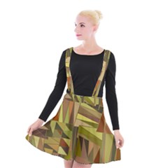 Earth Tones Geometric Shapes Unique Suspender Skater Skirt by Mariart