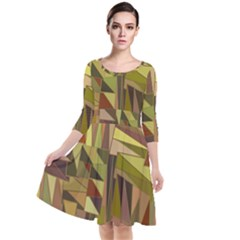 Earth Tones Geometric Shapes Unique Quarter Sleeve Waist Band Dress