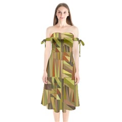 Earth Tones Geometric Shapes Unique Shoulder Tie Bardot Midi Dress
