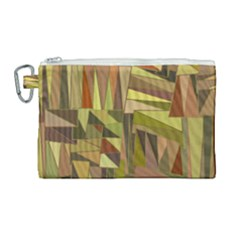 Earth Tones Geometric Shapes Unique Canvas Cosmetic Bag (large)