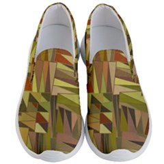 Earth Tones Geometric Shapes Unique Men s Lightweight Slip Ons