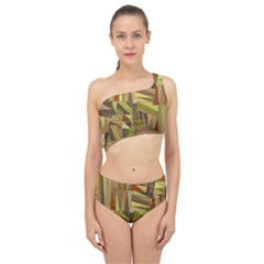 Earth Tones Geometric Shapes Unique Spliced Up Two Piece Swimsuit