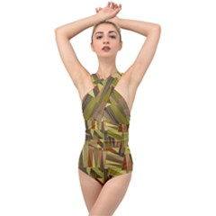 Earth Tones Geometric Shapes Unique Cross Front Low Back Swimsuit