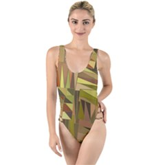 Earth Tones Geometric Shapes Unique High Leg Strappy Swimsuit