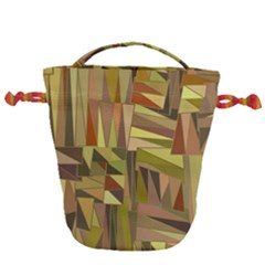 Earth Tones Geometric Shapes Unique Drawstring Bucket Bag by Mariart