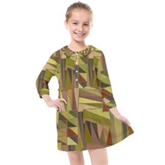 Earth Tones Geometric Shapes Unique Kids  Quarter Sleeve Shirt Dress
