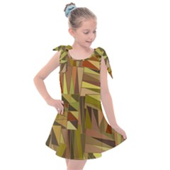 Earth Tones Geometric Shapes Unique Kids  Tie Up Tunic Dress