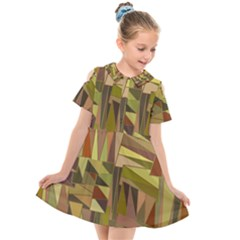 Earth Tones Geometric Shapes Unique Kids  Short Sleeve Shirt Dress