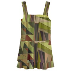 Earth Tones Geometric Shapes Unique Kids  Layered Skirt Swimsuit