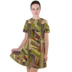 Earth Tones Geometric Shapes Unique Short Sleeve Shoulder Cut Out Dress
