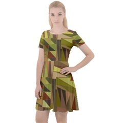 Earth Tones Geometric Shapes Unique Cap Sleeve Velour Dress