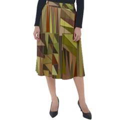Earth Tones Geometric Shapes Unique Classic Velour Midi Skirt