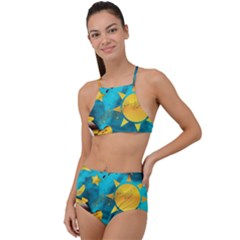 Gold Music Clef Star Dove Harmony High Waist Tankini Set by Alisyart