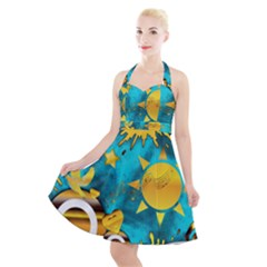 Gold Music Clef Star Dove Harmony Halter Party Swing Dress