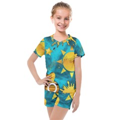 Gold Music Clef Star Dove Harmony Kids  Mesh Tee And Shorts Set