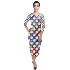 Rings Geometric Circles Random Quarter Sleeve Midi Velour Bodycon Dress by AnjaniArt