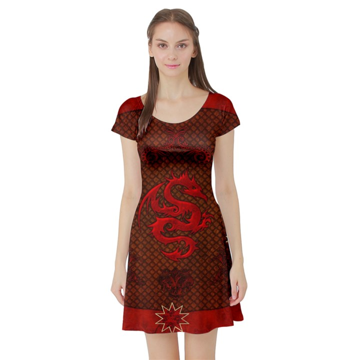 Awesome Chinese Dragon, Red Colors Short Sleeve Skater Dress