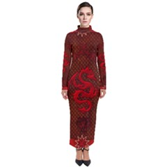 Awesome Chinese Dragon, Red Colors Turtleneck Maxi Dress by FantasyWorld7