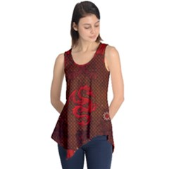 Awesome Chinese Dragon, Red Colors Sleeveless Tunic by FantasyWorld7