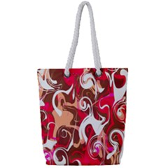 Fancy Magenta Marble Full Print Rope Handle Tote (small)