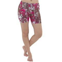Fancy Magenta Marble Lightweight Velour Yoga Shorts by tarastyle
