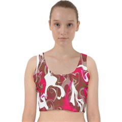 Fancy Magenta Marble Velvet Racer Back Crop Top by tarastyle