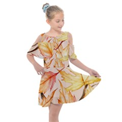 Watercolor Autumn Garden Kids  Shoulder Cutout Chiffon Dress