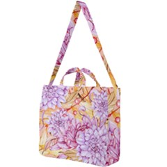 Watercolor Autumn Garden Square Shoulder Tote Bag by tarastyle