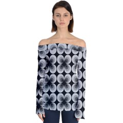 Zappwaits Retro Black Off Shoulder Long Sleeve Top by zappwaits