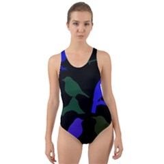 Bird Watching   Dark Colorful Cut Out Back One Piece Swimsuit