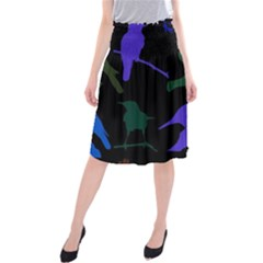 Bird Watching   Dark Colorful Midi Beach Skirt