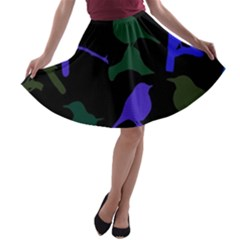Bird Watching   Dark Colorful A Line Skater Skirt by WensdaiAddamns