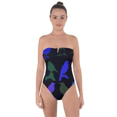 Bird Watching   Dark Colorful Tie Back One Piece Swimsuit