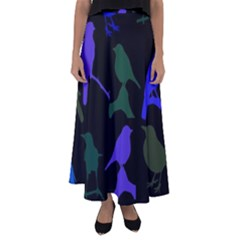 Bird Watching   Dark Colorful Flared Maxi Skirt