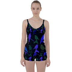 Bird Watching   Dark Colorful Tie Front Two Piece Tankini