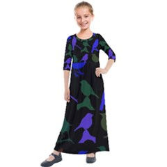 Bird Watching   Dark Colorful Kids  Quarter Sleeve Maxi Dress by WensdaiAddamns